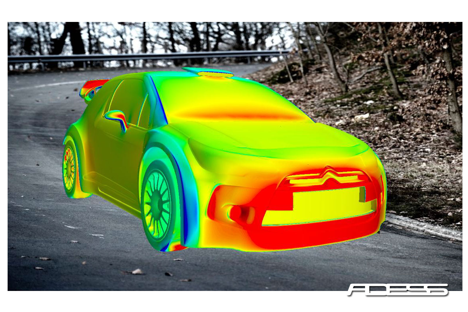 Pressure distribution on the Citroen DS3 WRC
