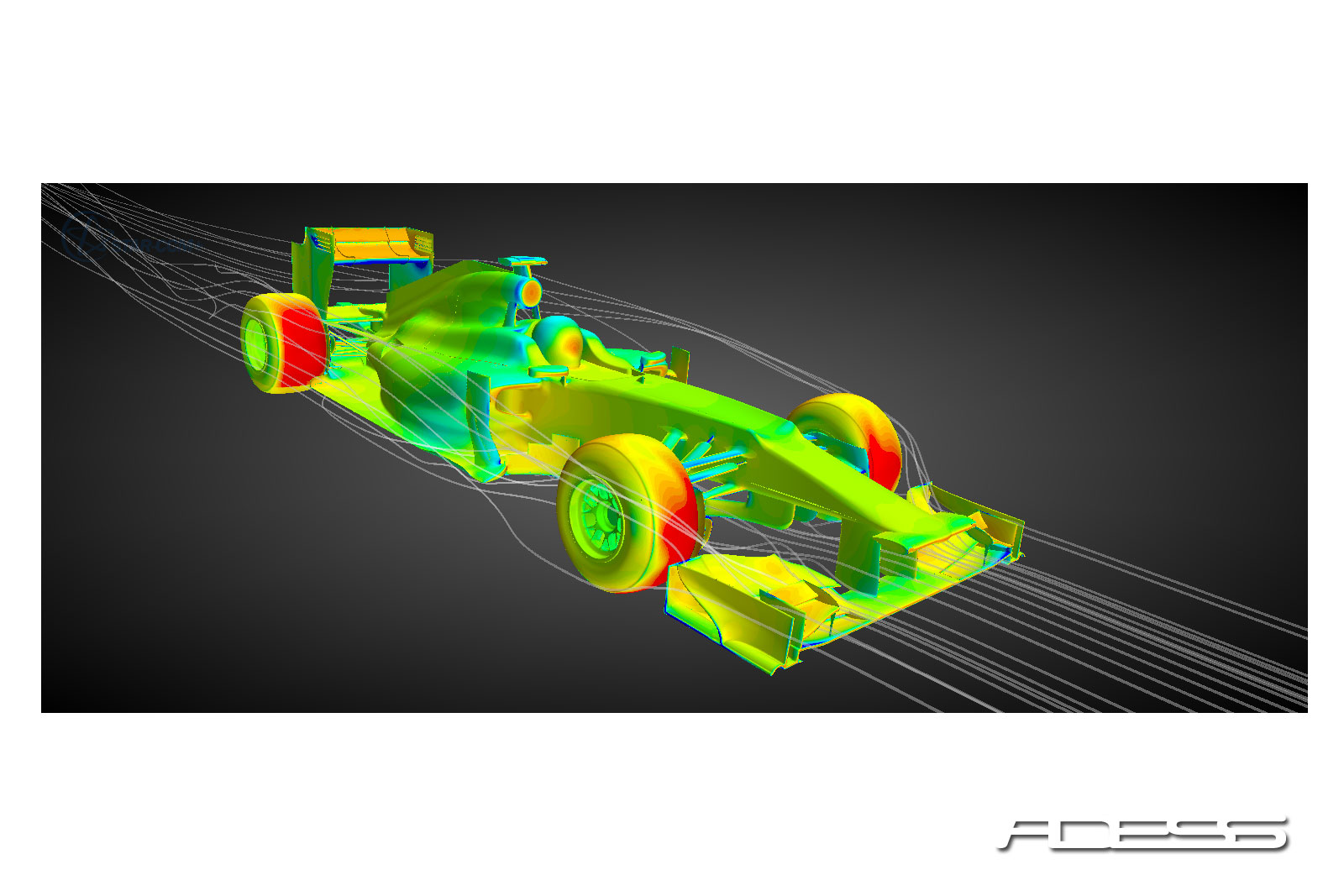 Pressure field and streamlines over a Formula 1 car